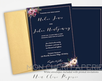 Classic Navy Floral Wedding Invitation | Classic Navy Floral RSVP Card | Accommodation Card | Printable DIY Wedding Invitation
