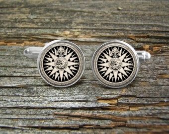 Compass Rose Nautical Vintage Cufflinks -Wedding-Cufflink Box-Jewelry Box-Silver-Keepsake-Gift-Man gift-Men-History-Nautical-Sailing
