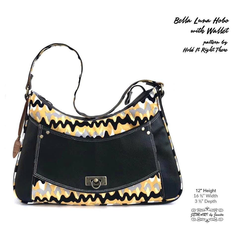 BELLA LUNA PDF Sewing Pattern Hobo bag with built in
