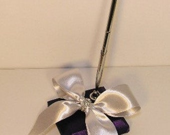 Wedding  Pen and Pen Holder Purple and Silver -Custom Made (Customize your color)