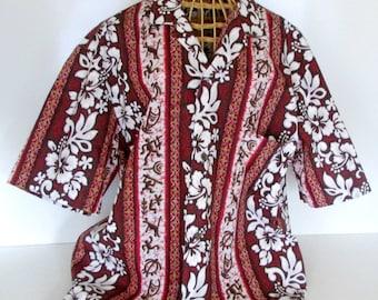 Vintage Mens Hawaiian Shirt Surfer Royal Creations Size L Tiki Hawaii 1970s Fashion