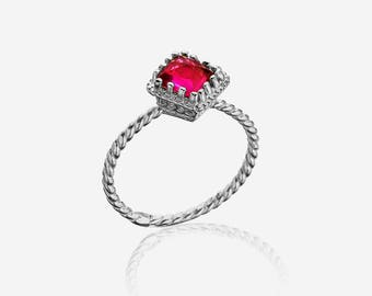 Gemstone red stone ring- everyday ring 925 solid sterling silver ring dainty twist ring everyday birthstone ring