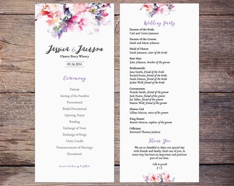 Printable Floral Watercolor Wedding Program, Spring Flower, Print at Home, Digital Files - Jessica
