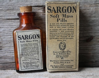 Antique Corked Sargon Soft Mass Pills Glass Medicine Bottle with Paper Label - Old Drug Store Stock Apothecary Medical Item