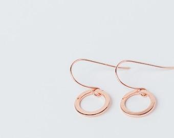 Rose gold earrings, rosegold, cute small simple circle