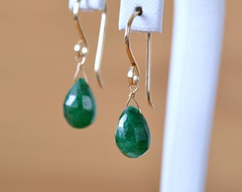 May Birthstone Genuine Emerald Earrings, Natural Green Gemstone Earrings, Leverback Earrings, wife gift 14K Rose Gold Filled Sterling Silver