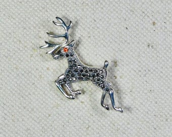 Vintage Reindeer Brooch Sterling Silver Marcasite Red CZ Pin