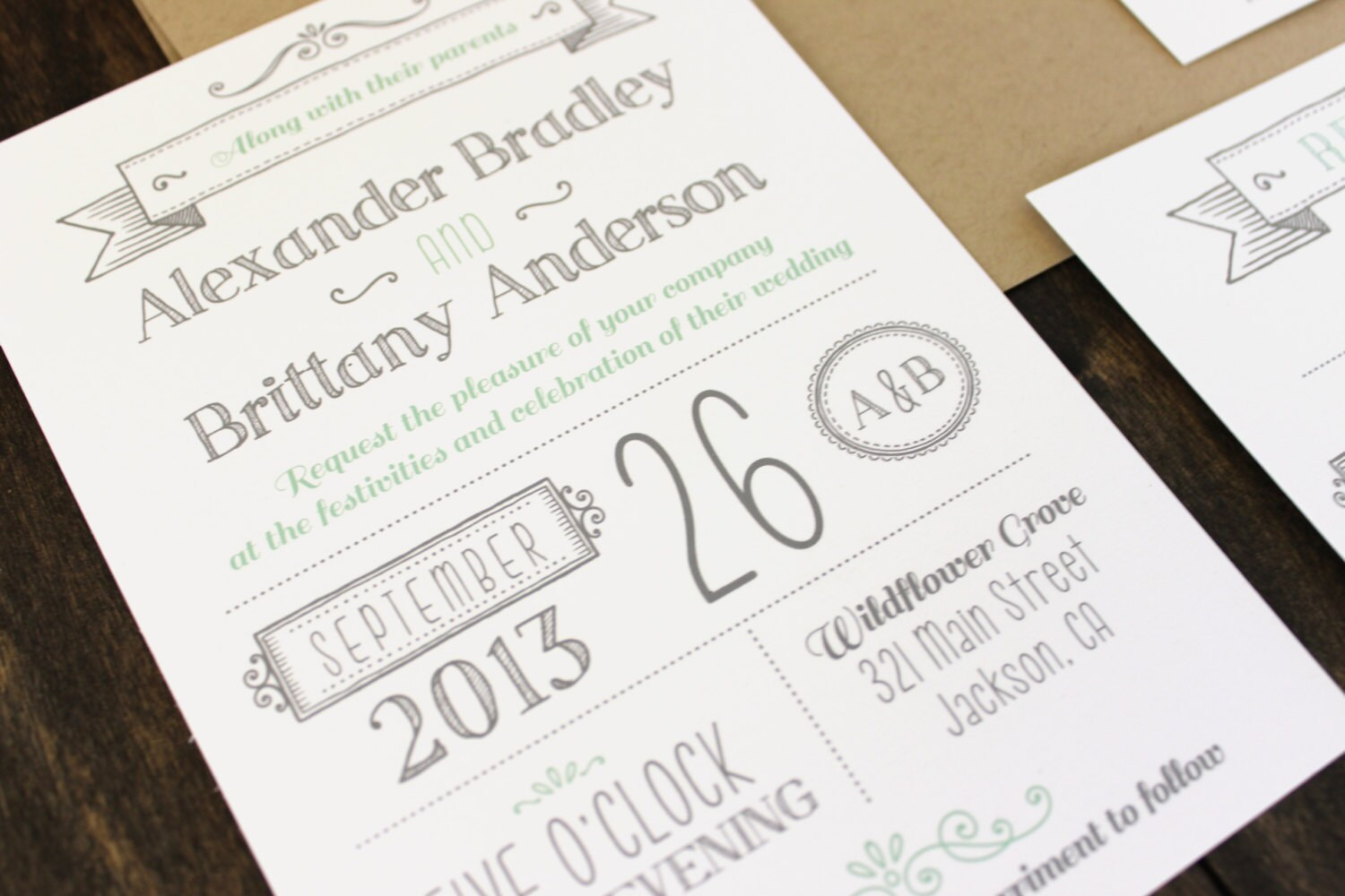 Printable Wedding Invitation. Modern invitation template.