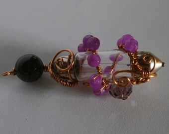 Steampunk glass pendant with jade, amethyst and faceted glass bead in copper