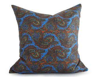 Blue Bohemian Pillow Covers, Blue Boho Pillow, Silky Gypsy Pillows, Eclectic Blue Pillows, Boho Cushions, Pillowthrowdecor, 14x20, 20x20