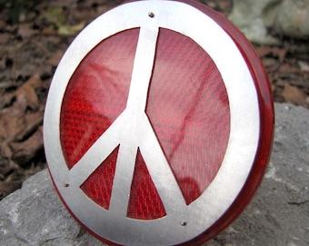 Red Bike Reflector, Lg Peace Sign