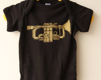 NOLA Trumpet Baby Onesie, New Orleans, Infant Bodysuit, Baby Outfits, New Orleans HOLIDAY gift, Music, Trumpet