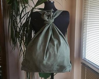 Vintage Green Canvas Backpack '70s, Military Canvas Backpack, Army Canvas Rucksack, Soldiers Backpack, Soviet Kitbag, Cold War Haversack