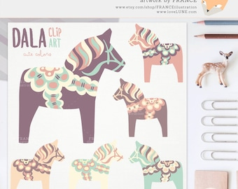 3 FOR 2. Cute Dala Horse Clip Art. Pastel Color Nordic Folk Art Designs. Swedish Scandinavian Clipart. Dalahäst/Dalecarlian Horse. Pony.
