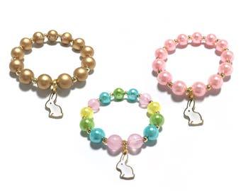 Small Beaded White Bunny Charm Bracelet - Pastel Rainbow Bunny Bracelet - Easter Bracelet - Pink and Gold Bunny Bracelet - Pink and White