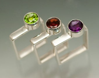 ONE Sterling Silver Square ring with your choice of an 8mm Peridot, Garnet or Amethyst - Citrine and Blue Topaz also available