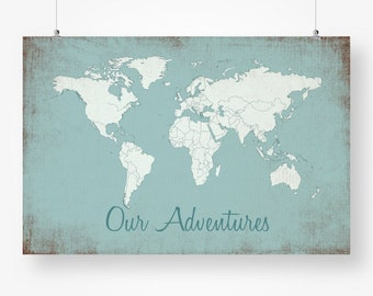 World map quote etsy quick view large push pin rustic world map poster gumiabroncs Image collections