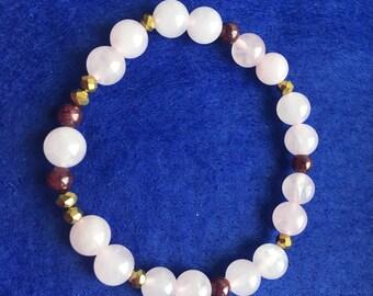 Rose Quartz with Garnet and Gold bracelet