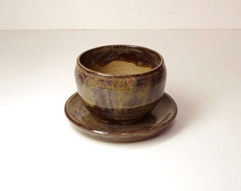Hand Thrown Stoneware Flower Pot Planter Cactus Browns, Tans, 3.5x2.75 White Horse Pottery