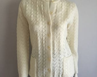 Vintage Women's 70's White, Cardigan Sweater, Long Sleeve by Rosanna (S)