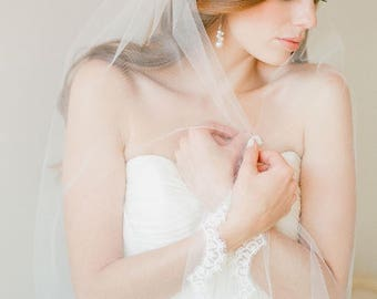 Lace Wedding Veil, Bridal Veil, Chantilly Lace Veil, Fingertip veil, Wedding Veil, Cathedral Veil, Soft Tulle Veil ,Veil- CELINE VEIL