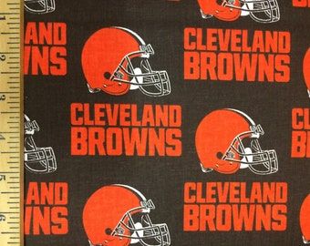 NFL Logo Cleveland Browns 6735D Brown Cotton Fabric by Fabric Traditions! [Choose Your Cut Size]