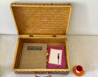 Vintage Woven Rattan Suitcase Handbag Storage Basket