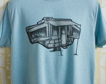MEN'S Pop-Up Camper Tee in 100% recycled poly/cotton, hand printed, choose your size and color