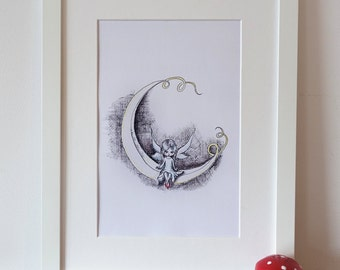 Moon fairy, zendoodle art, adorable print of my original drawing.