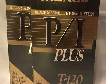2 Maxell P/I Plus T-120 New Sealed Blank Video Cassette Tape VHS Black Magnetite