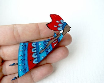 Blue fairy brooch or necklace, fairy illustrated jewelry, girl figure brooch