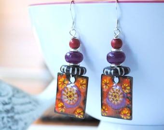 Floral Enamel Earrings, Square Earrings, Red and Purple Earrings, Boho Chic Earrings, Unique Artisan Earrings, Unique Halloween Earrings