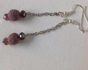 Purple Drop Diffuser Earrings