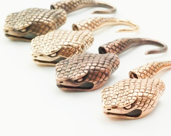 1 Solid Copper or Bronze Snake Hook Clasp - Large 37mm X 10mm - Shiny or Antique - 100% Guarantee