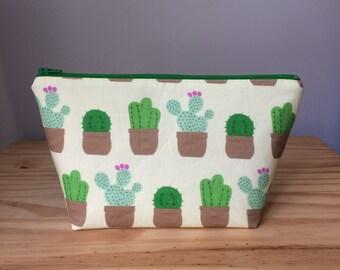 Medium Makeup Bag, House Cactus on Yellow, Cactus Makeup Bag, Cacti Makeup Bag, Cactus Cosmetic Bag, Cactus Bag, Sugar City Collection