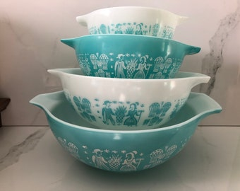 Vintage Pyrex Turquoise Cinderella Mixing Bowls, Retro Amish Butterprint Pyrex Cinderella Mixing Bowl Set