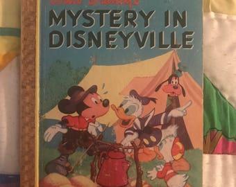 Hardcover Disney Mystery in Disneyville golden book 1949 Simon Schuster