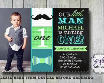 Mustache Invitation, Little Man Invite, Chalkbard, Bowtie Boy Birthday