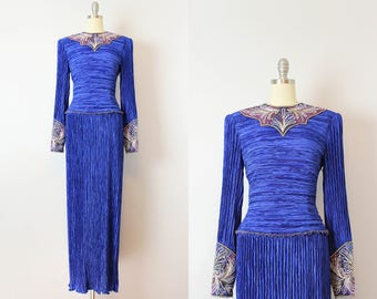 vintage 80s MARY MCFADDEN dress / 1980s royal blue pleated beaded dress / plisse fortuny pleat evening dress / sequined designer dress