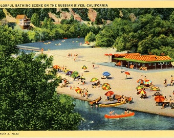 Russian River Bathing Scene Sonoma and Mendocino California Vintage Postcard (unused)