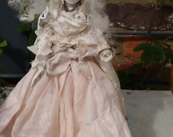 Mad Miss Havisham Doll dressed in Antique textiles.