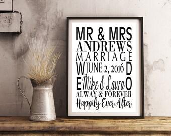 Custom - Subway Art Print 8x10- Marriage- Wedding, Anniversery, Engagement Gift