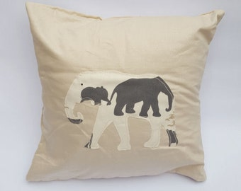 Off White & Grey Elephant Print Stencil Design Handmade Envelope Cushion Cover In Beige