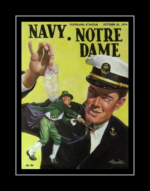Vintage Notre Dame Navy Football Poster Irish Wall Art
