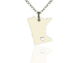 MN state necklace, Minnesota necklace, State jewelry