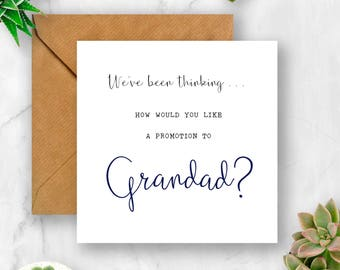 We've Been Thinking... How Would You Like a Promotion to Grandad Pregnancy Announcement Card, We're Pregnant, Having A Baby Card