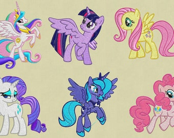 Bulk embroidery designs My Little Pony 6 files in zip pes hus jef vp3 exp