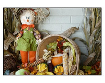 Scarecrow and Autumn Vegetables