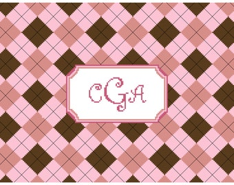 Argyle Pink and Brown Frame with Monogram Cross Stitch Pattern