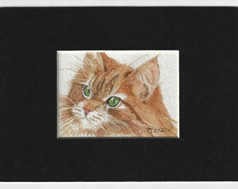"""ACEO Original Ginger Tabby Cat Miniature Watercolor Painting - Includes Mat - """"Punkin"""" by Cheryl Hansen"""